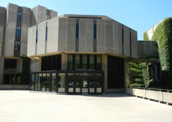 The main entrance of Northwestern's University Library shows.