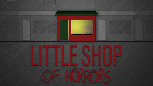 An illustration for Little Shop of Horrors shows a red shop and the title of the show written out