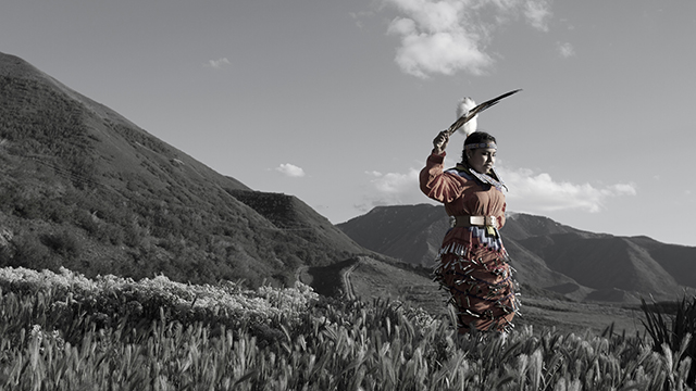 A Native woman wearing traditional Native clothing holds a large feather in the hair. She is standing on the side of a mountain or hill.