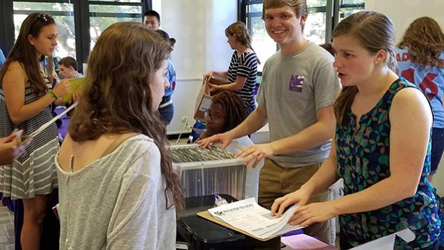 NU Votes volunteers help register eligible freshman to vote ahead of the 2016 election.