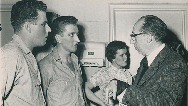 "Aaron Copland works with Northwestern students on the 1958 production of ""The Tender Land"""