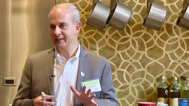 "Course director Dr. Stephen Devries addresses attendees at ""Nutrition Science from Populations to Plates: What Every Clinician Needs to Know,"" on Sunday, June 4, at the Chopping Block in Chicago's Merchandise Mart."