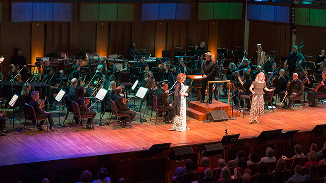 Nina Kraus and Renee Fleming with the orchestra