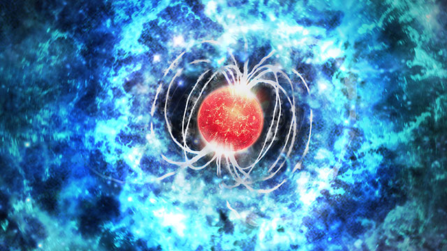 This artist's impression of SN 2017egm shows the power source for this extraordinarily bright supernova. The explosion was triggered by a massive star that collapsed to form a neutron star with an extremely strong magnetic field and rapid spin, called a magnetar. Debris from the supernova explosion is shown in blue, and the magnetar is shown in red. (Credit: M. Weiss/CfA)
