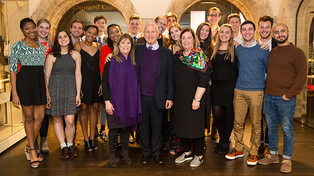 "Northwestern's ""Atlantic"" company and alumni writers with President Morton and Mimi Schapiro, director David H. Bell and School of Communication Dean Barbara O'Keefe. Photos by Justin Barbin."