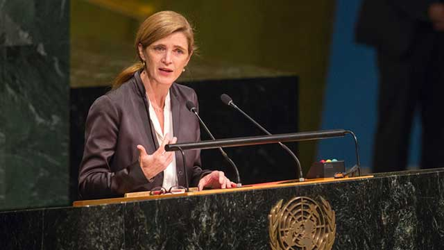 Samantha Power, former U.S. Ambassador to the United Nations, speaking at a podium.