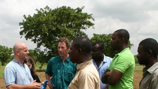The Global Poverty Research Lab, led by Dean Karlan (left) and Chris Udry (second from left in turquoise) plan to initially focus international research efforts on Ghana and the Philippines.