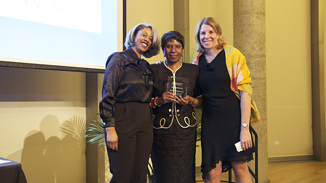 Sekile M. Nzinga-Johnson, Njoki Kamau and Alecia Wartowski celebrate at the Women's Center 30th anniversary awards dinner March 1. Photo by Jontisha Graves.