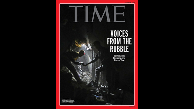 The cover of TIME magazine featuring a story about Syrians living in the line of fire