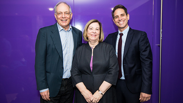 Northwestern professor emeritus David Downs, School of Communication Dean Barbara O'Keefe and alumnus Greg Berlanti